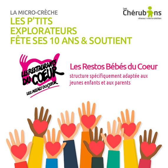 La micro-crèche Les P'tits Explorateurs des Chérubins soutient Les Bébés du Coeur