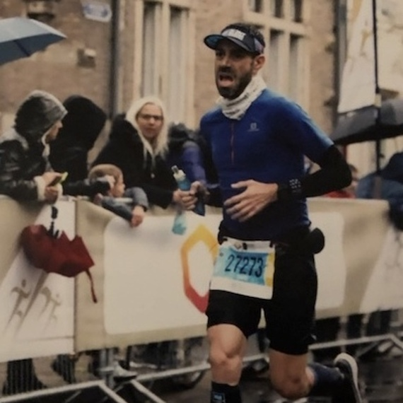 David court le Marathon de Paris pour les Restos du Coeur